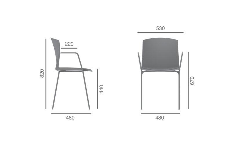cadeira polipropileno e250 com braços dimensoes